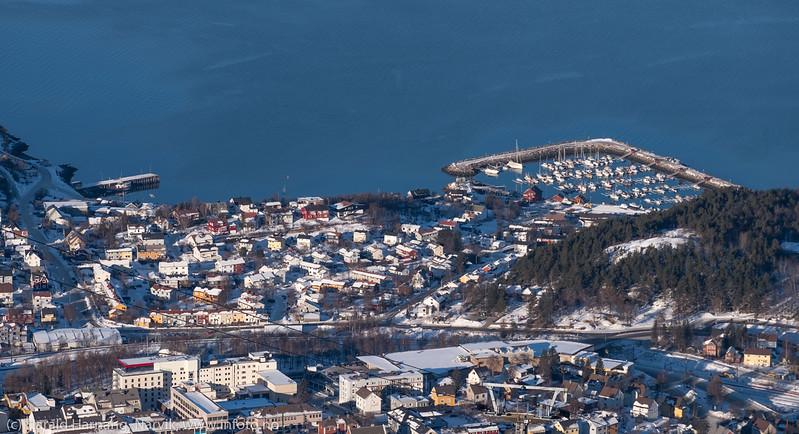 Foto fra øvre fjellheis-stasjon 22. februar 2018