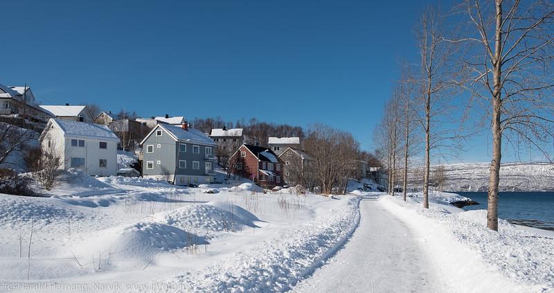 Gangvei nedenfor Strandveien, fint ryddet etter snøvær.