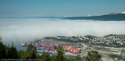 Tåke over deler av Narvik 27. juli 2017