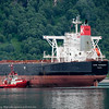 Malmskipet Cape Harmony slepes til kai 5 14. juli 2016. Skipet er 202 mx45 m, 178 000 dwt. Foran slepebåten Rombak, midtskips Bryteren og akter BB Coaster.