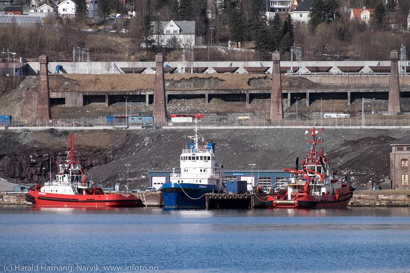 Slepebåter ved LKABs anlegg. Fra venstre: Bryteren, Rombak og BB Coaster.
