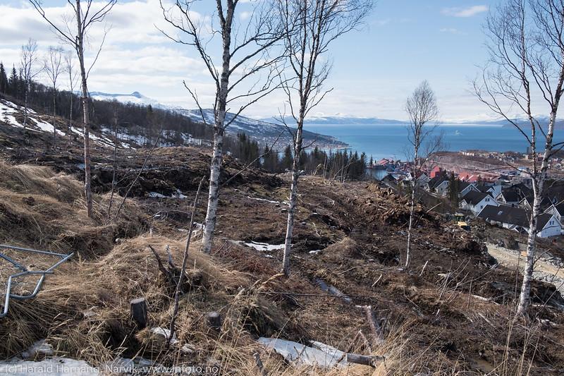 Øvre Skistua boligfelt under utbygging. 4. mai 2018