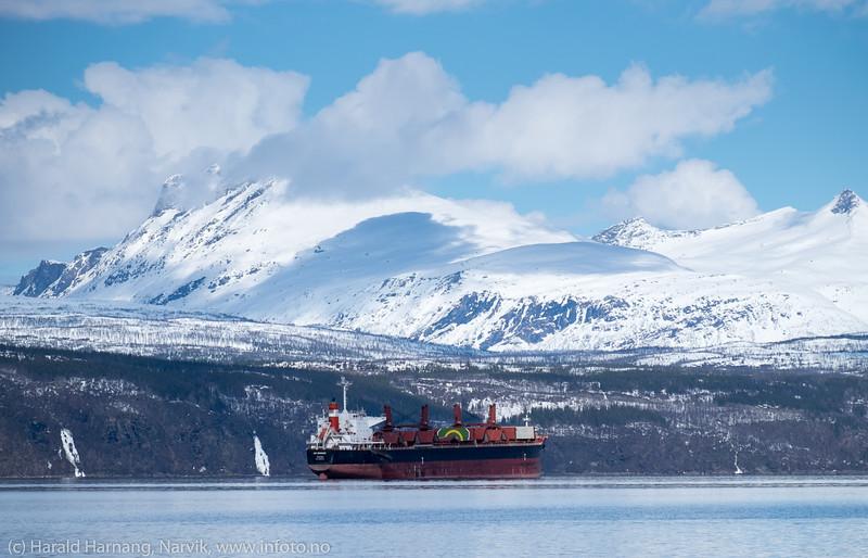 AM Bremen, panamareg, bulk, 56 000 dwt, 190x32 m, til ankers utenfor Øyjord. I bakgrunnen Revtind.