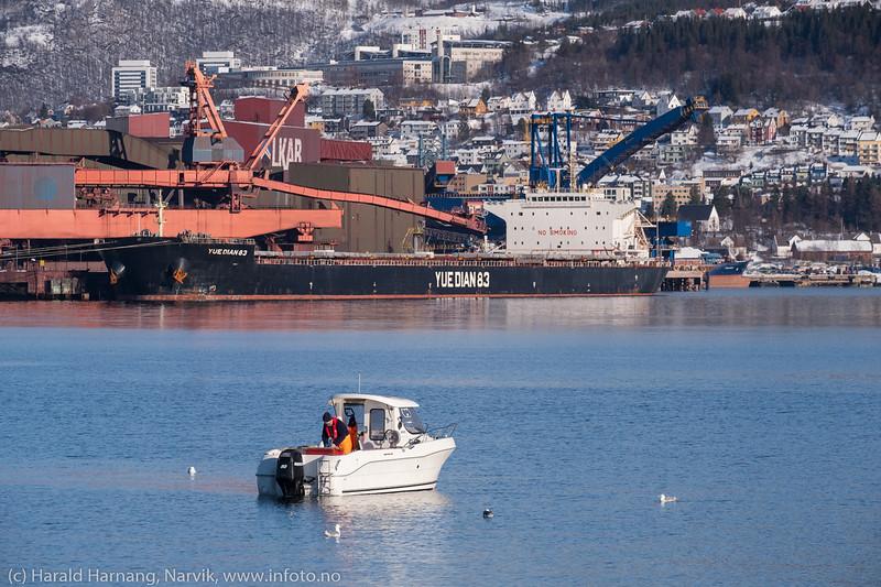 Malmskip og båter på Narvik havn.