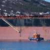 Til ankers på Narvik havn, Leopold LD, 18 000 dwt, 292x45 m, Maltareg bulk carrier. Bjørnfjell på tur til malmbåten.