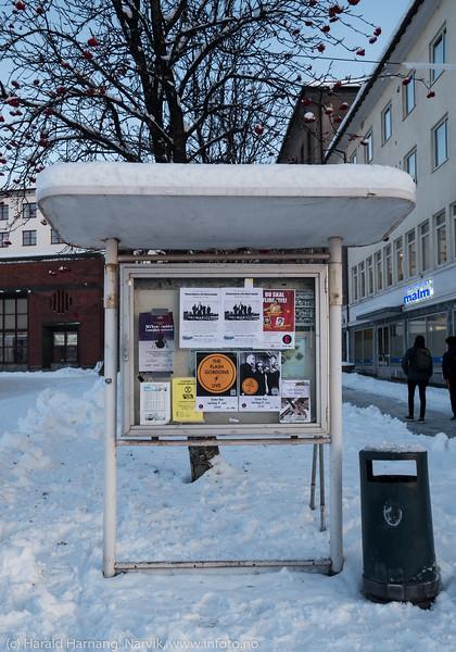 Oppslagstavle på torget i Narvik, 8. november 2019