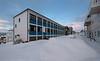 Yrkesskolen, eller mer presist Narvik Videregående skole, avdeling yrkesfag. Nordover Håreks gate. Foto 22,. januar 2020