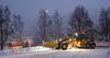 Brøyting og snøfjerning etter snøfall og før mildvær. Foto 11. desember 2019.