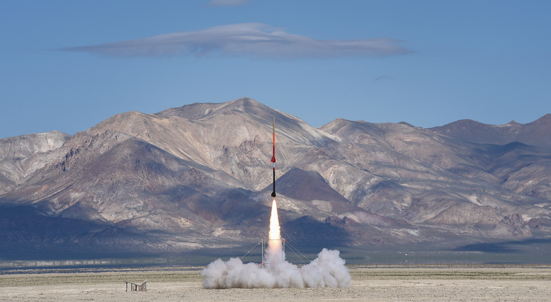 A rocket launches into the sky in Black Rock Desert, Nev. on May 1, 2016.