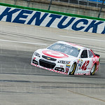 Kyle Larson\'s Target Chevy was fastest in both NASCAR Sprint Cup Series practice sessions. The effort earned Larson the pole position for Saturday\'s Quaker State 400 when quaifying was rained out. Despite the limited track time, Larson was happy with th