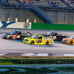 The Toyotas of Erik Jones (4) and Matt Crafton (88) led the Camping World Truck Series to the green flag on a restart.