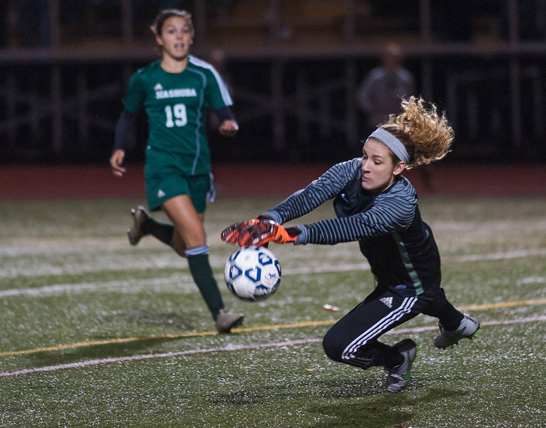 W. Springfield Keeper Jaimee O'Brien makes a big stop late in the game to deny Nashoba's. SENTINEL & ENTERPRISE / JIM MARABELLO