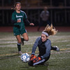 W. Springfield Keeper Jaimee O'Brien makes a big stop late in the game to deny Nashoba as Taylor Rodriguez closes in on the rebound. SENTINEL & ENTERPRISE / JIM MARABELLO
