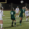 Nashoba's Sarah Gillooly prepatres to head a ball against W. Springfield in the State Div I Semi-Final which the Chieftains won 1-0. SENTINEL & ENTERPRISE / JIM MARABELLO