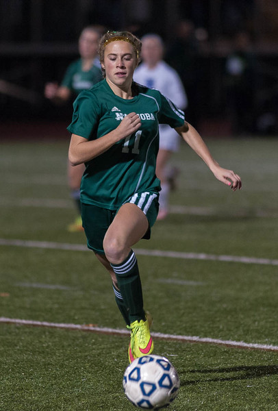 Ashlyn MacLure of Nashoba moves the ball upfield against W. Springfield in the Div I Semi-Final. The Chieftains won 1-0 to move on to the State Championship game. SENTINEL&ENTERPRISE/ Jim Marabello