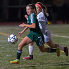 Nashoba Regional's Abby McNulty runs past West Springfield's Kathleen Beliveau during a Division 1 girls' soccer state semifinal game at Nashoba Regional High School in Bolton on Wednesday, Nov. 16, 2016. Nashoba won the match, 1-0. SENTINEL & ENTERPRISE / JIM MARABELLO