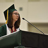 Class salutatorian Hannah Castner takes to the podium to address graduates at the DCU Center in Worcester for the Nashoba Regional commencement ceremonies on Sunday.  SENTINEL & ENTERPRISE JEFF PORTER