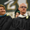 School superintendent Brooke Clenchy (left) and principal Paul Di Domenico listen to speakers at the DCU Center in Worcester for the Nashoba Regional commencement ceremonies on Sunday.  SENTINEL & ENTERPRISE JEFF PORTER