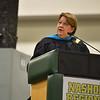 School superintendent Brooke Clenchy addresses graduates at the DCU Center in Worcester for the Nashoba Regional commencement ceremonies on Sunday.  SENTINEL & ENTERPRISE JEFF PORTER