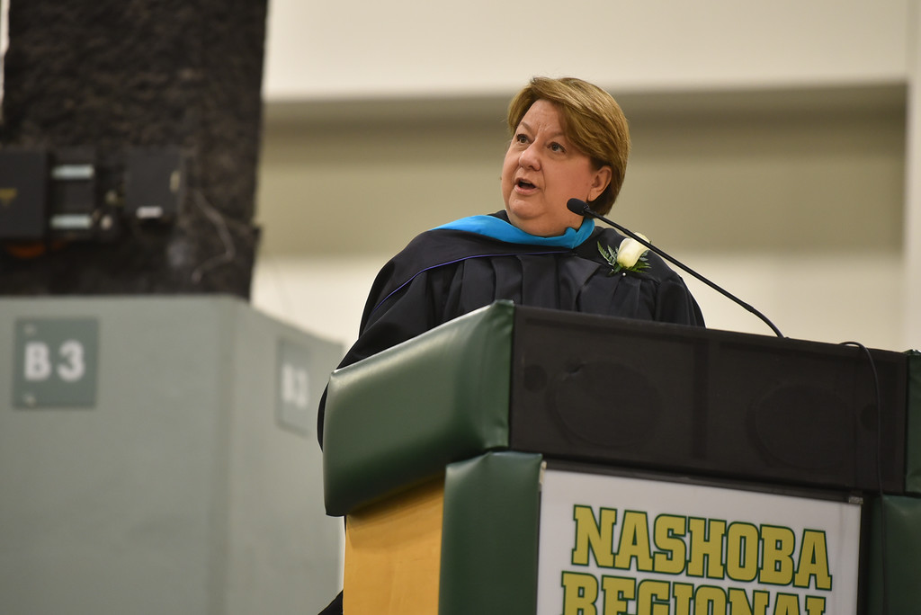 . School superintendent Brooke Clenchy addresses graduates at the DCU Center in Worcester for the Nashoba Regional commencement ceremonies on Sunday.  SENTINEL & ENTERPRISE JEFF PORTER