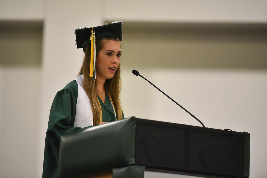 . Class valedictorian Haley Neff speaks to fellow graduates at the DCU Center in Worcester for the Nashoba Regional commencement ceremonies on Sunday.  SENTINEL & ENTERPRISE JEFF PORTER