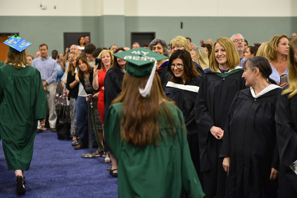 . Family and friends gather at the DCU Center in Worcester for the Nashoba Regional commencement ceremonies on Sunday.  SENTINEL & ENTERPRISE JEFF PORTER