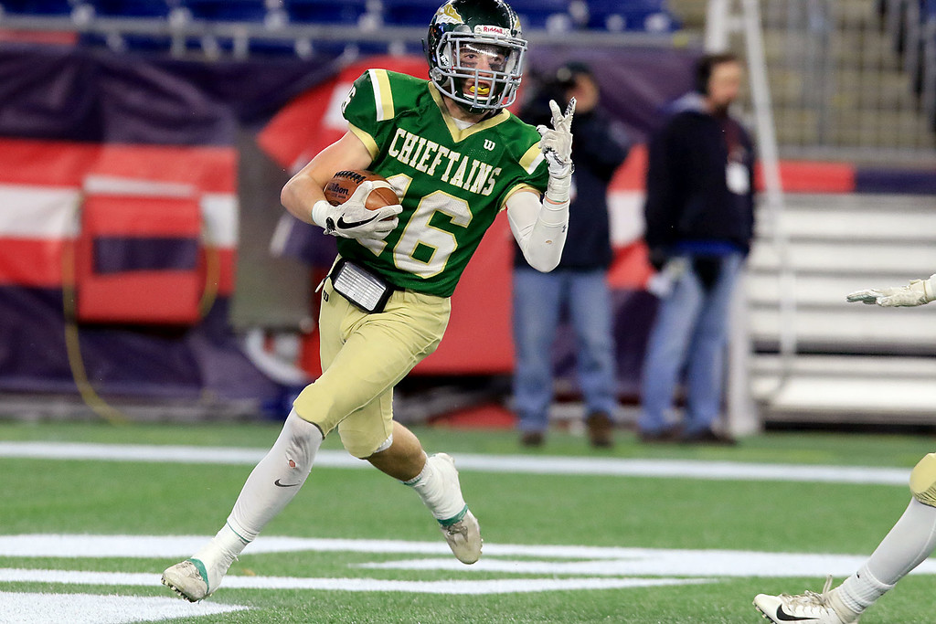 . Nashoba Regional High School\'s Will Danby puts up to finger showing that this was his second touchdown during their win over Dighton-Rehoboth Regional High School at Gillette Stadium in Foxborough on Friday night, November 30, 2018. SENTINEL & ENTERPRISE/JOHN LOVE