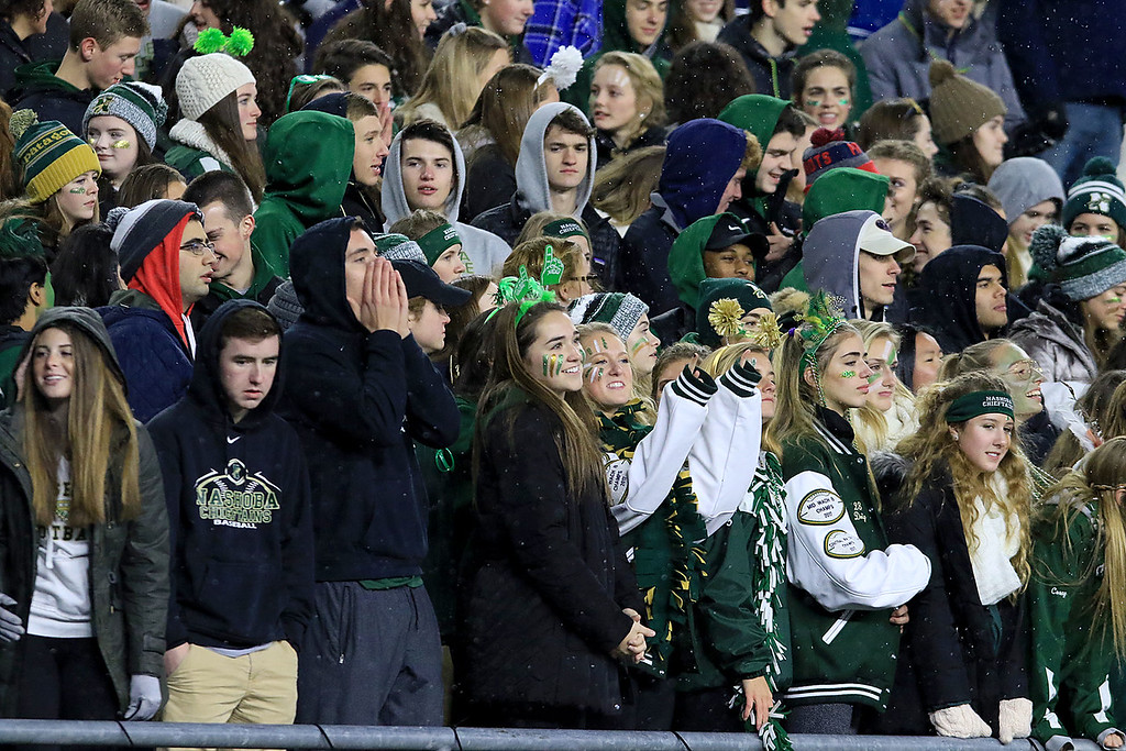 . A Nashoba Regional High School fans cheers for their team during the Superbowl game against Dighton-Rehoboth Regional High School at Gillette Stadium in Foxborough on Friday night, November 30, 2018. SENTINEL & ENTERPRISE/JOHN LOVE