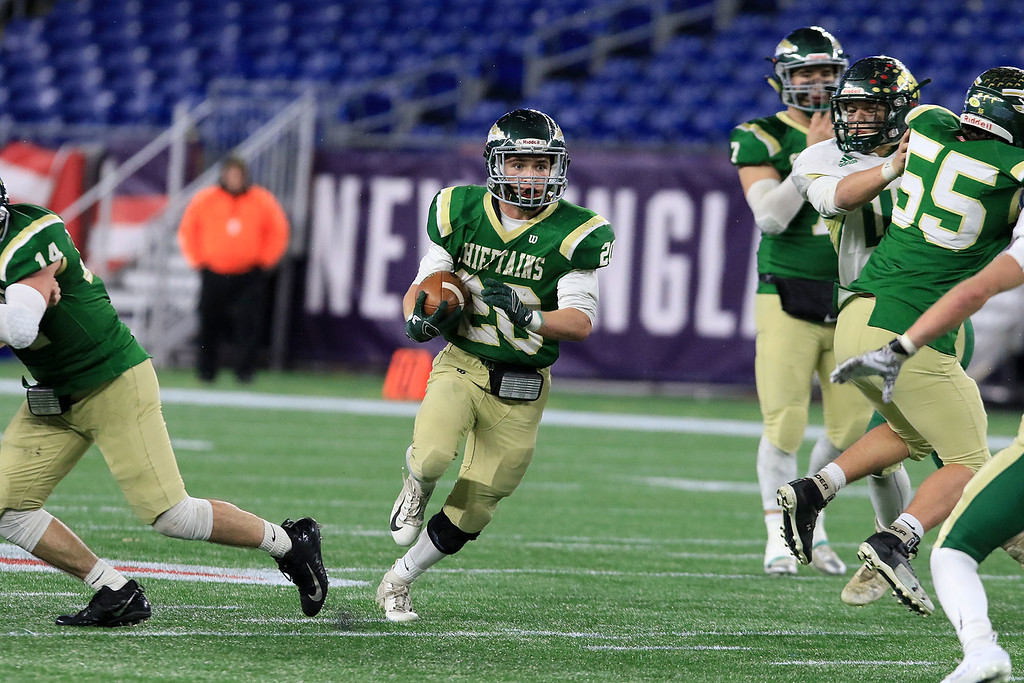 . Nashoba Regional High School\'s Brendan Lee finds some running room during their win over Dighton-Rehoboth Regional High School at Gillette Stadium in Foxborough on Friday night, November 30, 2018. SENTINEL & ENTERPRISE/JOHN LOVE