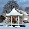 Winter Scene of the Gazabo in Dunstable Center with the holiday tree and lights on. NVV/ David H. Brow