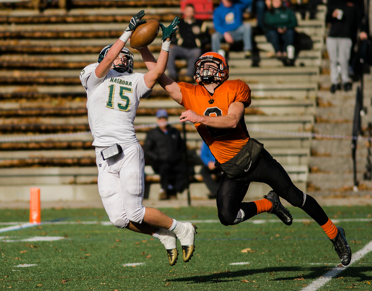 Nashoba's Breese Hill catches a pass one the one-yard line during the Central Mass. Division 2A title game against Marlboro on Saturday afternoon. Nashoba was defeated 42-21. SENTINEL & ENTERPRISE / Ashley Green