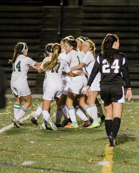 Nashoba celebrates after a goal by Alana Carlucci during the Central Mass. Division 1 semifinal game against Marlboro on Thursday evening. SENTINEL & ENTERPRISE / Ashley Green