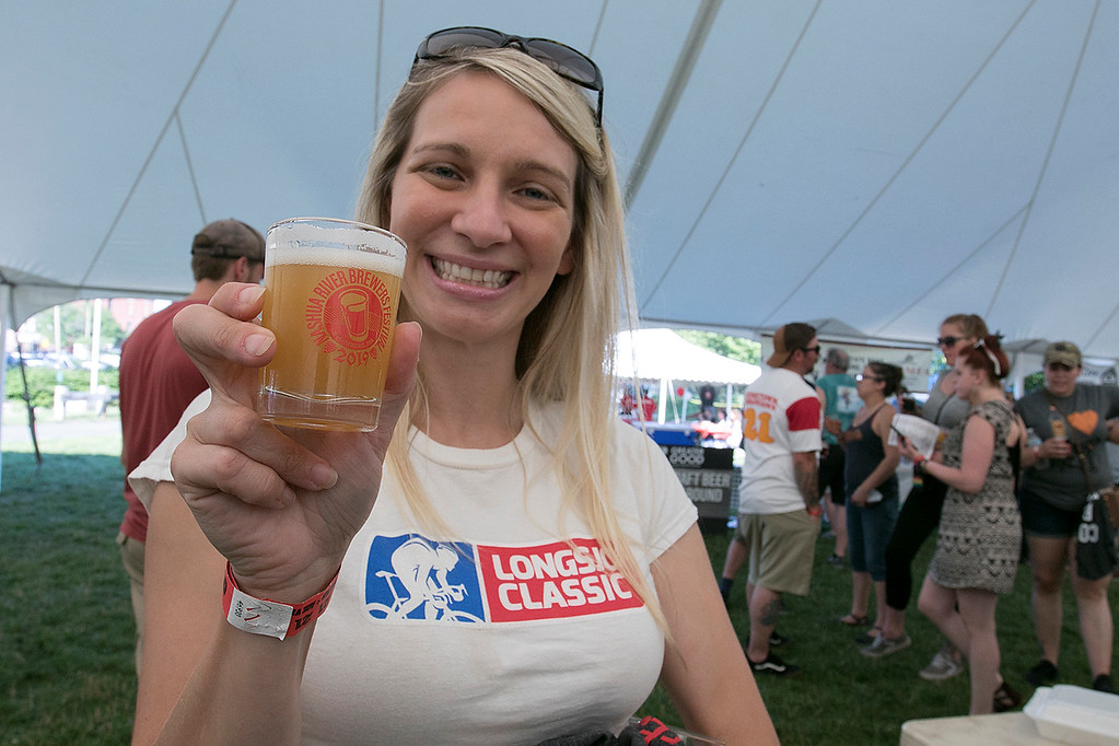 ". The 2019 Nashua River Brewers Festival held at Riverfront Park in Fitchburg Saturday, June 29, 2019. the festival was put on by ""Beers for Good\"" and the City of Fitchburg. Fitchburg City Councilor Sam Squailia was ready to try the Johnny Fry Double Dry Hop New England IPA during the festival. SENTINEL & ENTERPRISE/JOHN LOVE"