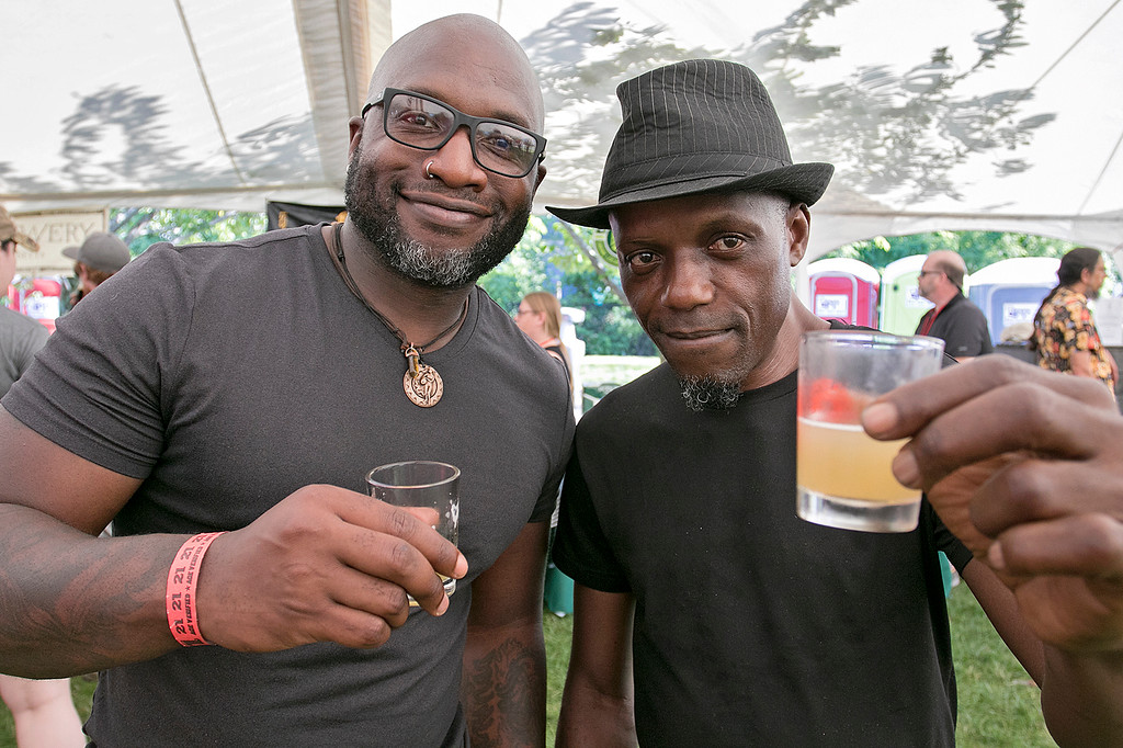 ". The 2019 Nashua River Brewers Festival held at Riverfront Park in Fitchburg Saturday, June 29, 2019. the festival was put on by ""Beers for Good\"" and the City of Fitchburg. Having a good time at the festival is Kangsen Masango and Muna Kangsen. SENTINEL & ENTERPRISE/JOHN LOVE"