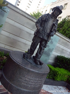 """This statue is dedicated to the Nashville Fire Fighters and EMS, past, present and future, who have given their lives protecting their neighbors."""