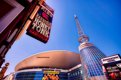 Bridgestone Arena and Nashville Visitor Center with radio antenna landmark
