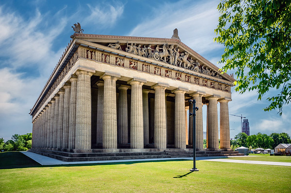 The Parthenon in Centennial Park Nashville, Tennessee, is a full-scale replica of the original Parthenon in Athens