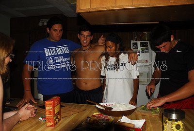 Brad, Paige, Nolan, Mason make Fresh Sushi Rolls 07-25-12