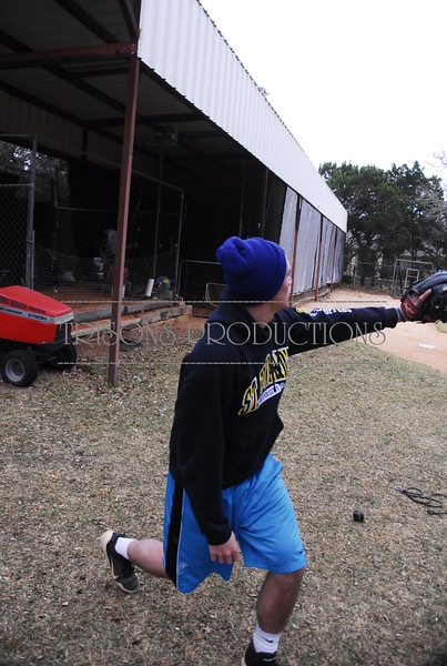 Brad and Mason throw baseball and pitch bullpen 12-30-12