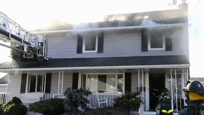 Massapequa F D  House Fire 54 Eastlake Ave  2-22-14