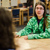 Emily Schaffter speaks with State Representative Natalie Higgins at Leominster High on Friday, March 10, 2017 during Higgins' office hours at the school. SENTINEL & ENTERPRISE / Ashley Green