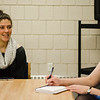 Sophomore Helen Cohen speaks with State Representative Natalie Higgins at Leominster High on Friday, March 10, 2017 during Higgins' office hours at the school. SENTINEL & ENTERPRISE / Ashley Green