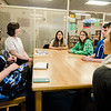 State Representative Natalie Higgins speaks with students at Leominster High on Friday, March 10, 2017 during her office hours at the school. SENTINEL & ENTERPRISE / Ashley Green
