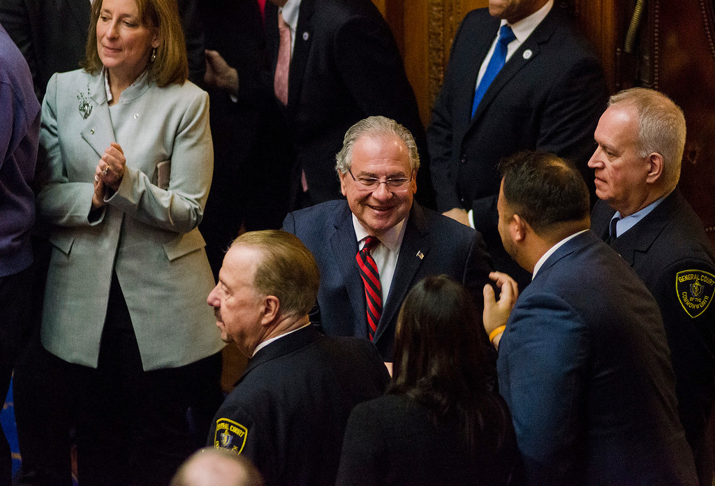 . Newly re-elected Speaker of the House Robert DeLeo as the Massachusetts House of Representatives gathered for the 190th general court and swearing-in ceremony on Wednesday morning at the State House in Boston. SENTINEL & ENTERPRISE / Ashley Green