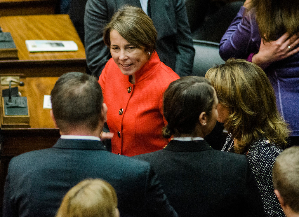 . Attorney General Maura Healey enters the house chamber as the Massachusetts House of Representatives gathered for the 190th general court and swearing-in ceremony on Wednesday morning at the State House in Boston. SENTINEL & ENTERPRISE / Ashley Green