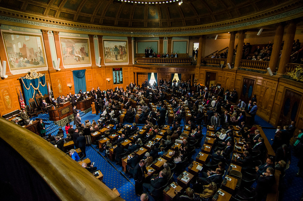 . The Massachusetts House of Representatives gathered for the 190th general court and swearing-in ceremony on Wednesday morning at the State House in Boston. SENTINEL & ENTERPRISE / Ashley Green