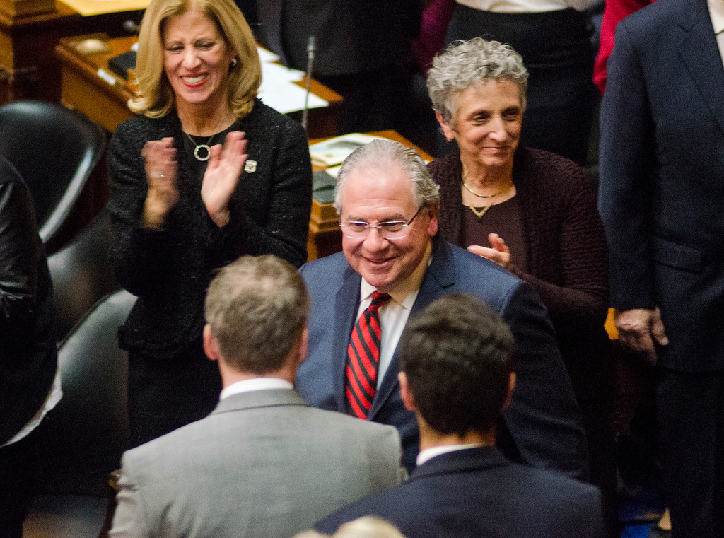 . Newly re-elected Speaker of the House Robert DeLeo enters the house chamber as the Massachusetts House of Representatives gathered for the 190th general court and swearing-in ceremony on Wednesday morning at the State House in Boston. SENTINEL & ENTERPRISE / Ashley Green