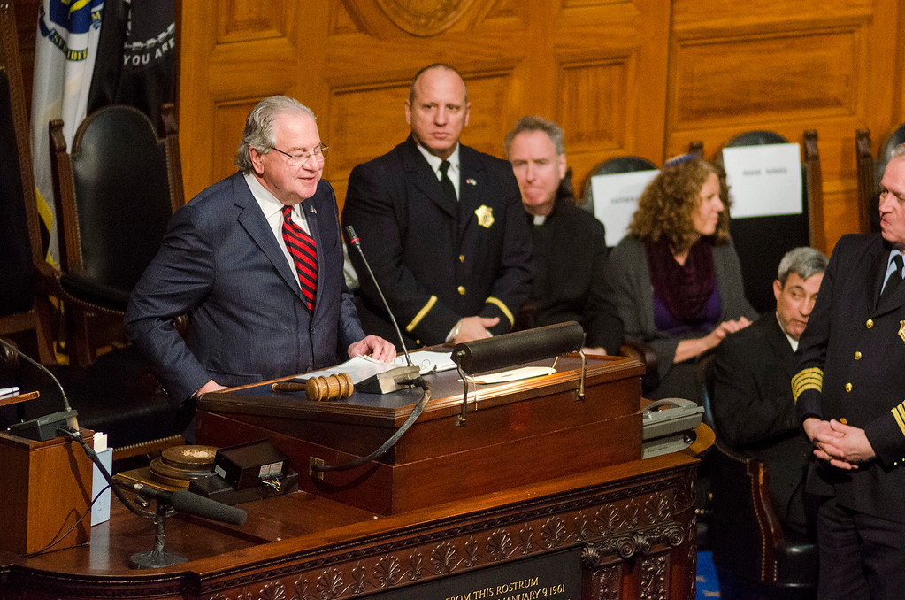 . Newly re-elected Speaker of the House Robert DeLeo gives his remarks as the Massachusetts House of Representatives gathered for the 190th general court and swearing-in ceremony on Wednesday morning at the State House in Boston. SENTINEL & ENTERPRISE / Ashley Green