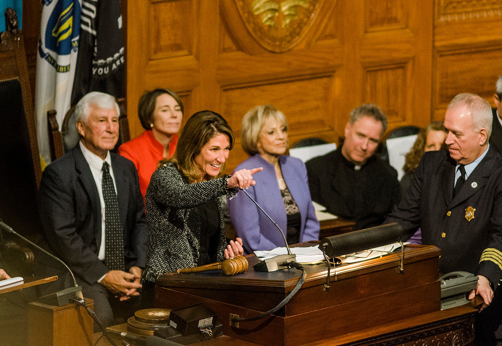 . Lt. Gov. Karyn Polito gives her remarks as the Massachusetts House of Representatives gathered for the 190th general court and swearing-in ceremony on Wednesday morning at the State House in Boston. SENTINEL & ENTERPRISE / Ashley Green