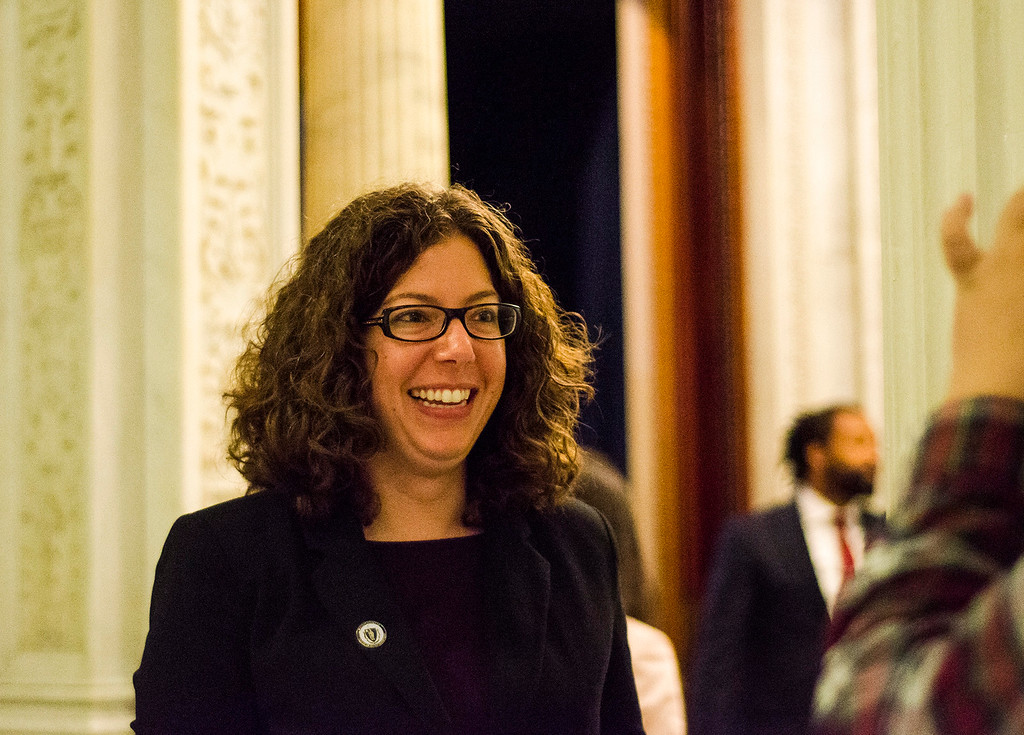 . Newly appointed Leominster State Rep. Natalie Higgins is all smiles after greeting Gov. Charlie Baker as the Massachusetts House of Representatives gathered for the 190th general court and swearing-in ceremony on Wednesday morning at the State House in Boston. SENTINEL & ENTERPRISE / Ashley Green